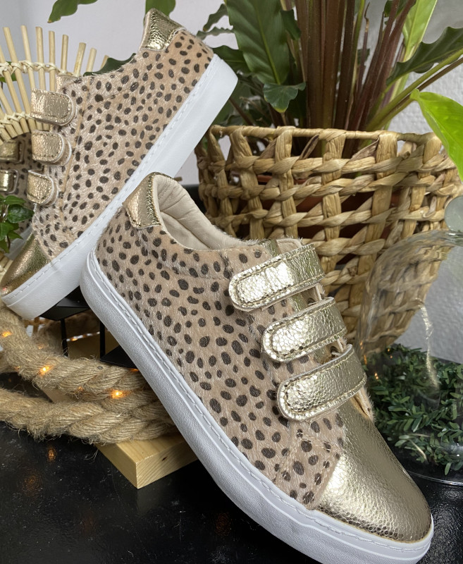 basket gold léopard