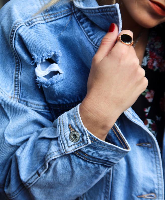 veste en jean femme destroy