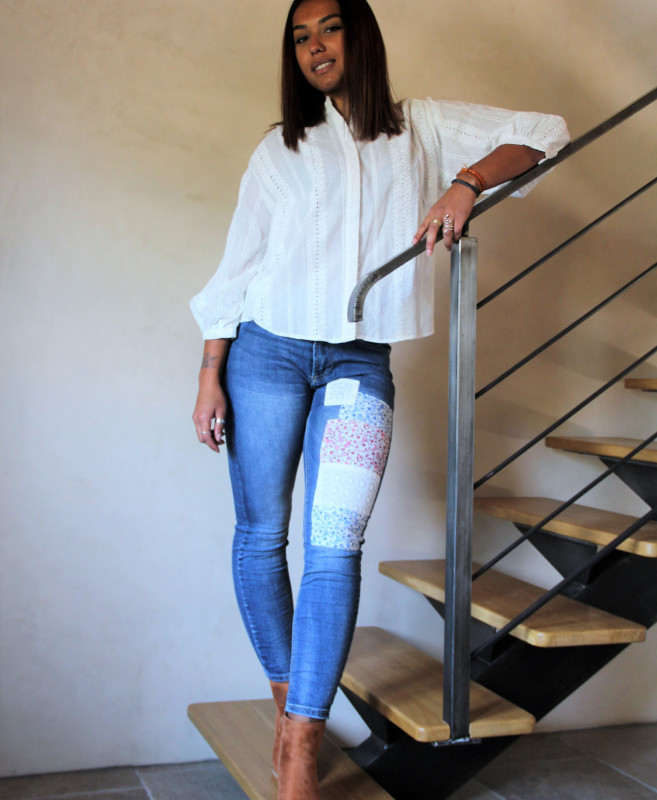 jean droit femme patchwork
