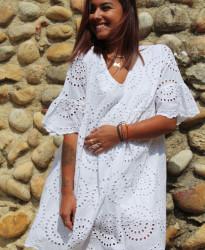 robe blanche mi longue bohème