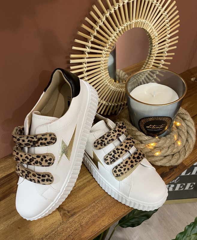basket Vanessa wu plateforme blanche et léopard trendy'smummy.com